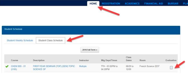 Screenshot of DukeHub Student Center homepage
