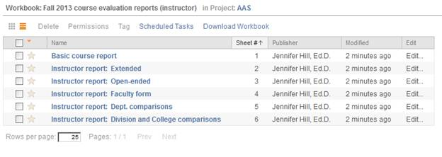 Screenshot of Faculty view of a Workbook